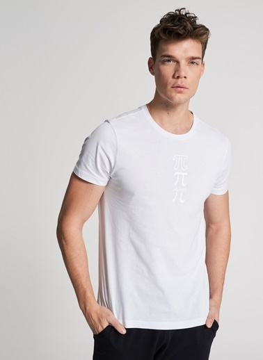 Pi π Baskılı Tişört Beyaz